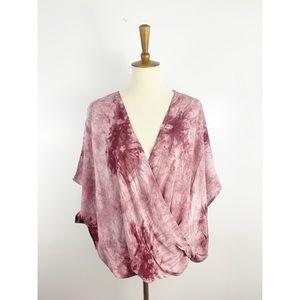 NWT Favlux Rose Tie Dye Twist Front Top